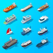 Ships Boats Vessels Isometric Icon Set - stock illustration