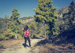 Yount femela trekker on her way through mountain forest. - stock photo