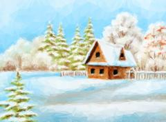 Winter Landscape, Rustic House Stock Illustration