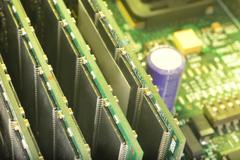 RAM trims on motherboard - stock photo