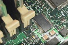 Macro zoomed microcircuit Stock Photos