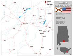 Stock Illustration of Alabama Covington County Map
