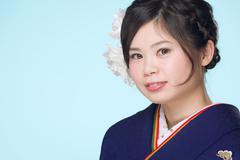 Young Japanese Girl in Kimono - stock photo