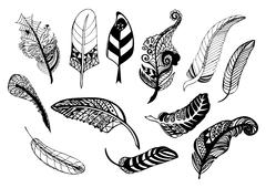 Hand drawn whimsical feather collection. Stock Illustration