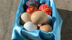 Eggs in a basket against a sacking. Stock Footage