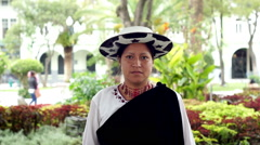 People Faces Ecuador Saraguro Woman Portrait Far - stock footage