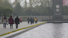 China war memorial, Nanjing Massacre, peace monument, symbolic value Stock Footage