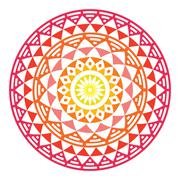 Tribal Aztec geometric pattern or print in circle - ombre - stock illustration