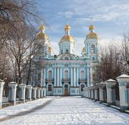 St. Nicholas Naval Cathedral in winter. Saint-Petersburg. Russia - stock photo