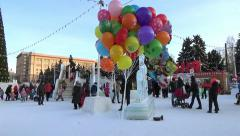 PEOPLE IN ICE TOWN. CHELYABINSK, RUSSIA. 4 Stock Footage