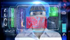 Doctor with futuristic hud screen tablet. Bacteria, virus.concept of the future Stock Footage