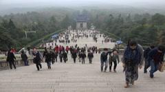 China tourism, Sun yat sen mausoleum, hiking, modern history, culture - stock footage