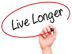 Man Hand writing Live Longer with black marker on visual screen - stock photo
