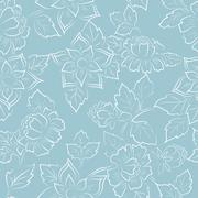Abstract seamless floral pattern fabric - stock illustration