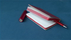 The business set of the notebook paper for notes, a pen and flash drive Stock Footage