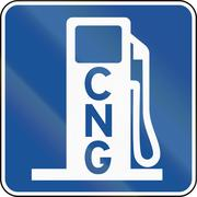 United States MUTCD road road sign - Gas station with CNG Stock Illustration