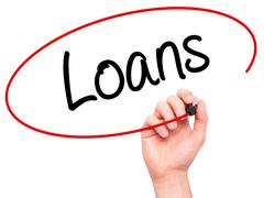 Man Hand writing Loans  with black marker on visual screen Stock Photos