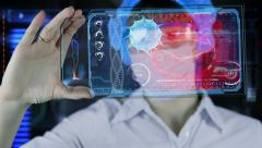 Doctor with futuristic hud screen tablet. Bacteria, virus.concept of the future Arkistovideo