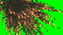 Explosion, fire,  fragments, black smoke on green screen Stock Footage