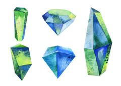 Watercolor crystal, mineral, gem set Stock Illustration