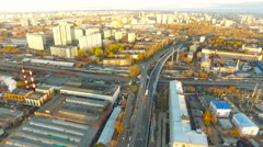 Moscow. Urban Scape With Traffic on Interchange railroad. Street, road, cars. Stock Footage