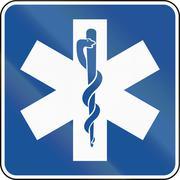 United States MUTCD road road sign - Medical supplies - stock illustration