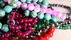 Beads jewelery. - stock footage