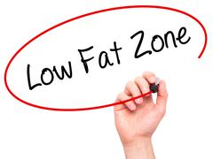 Man Hand writing Low Fat Zone with black marker on visual screen - stock photo