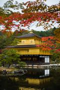 Kinkakuji temple golden pavilian in autumn - stock photo
