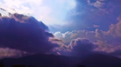 Purple Clouds Form over the Mountains Outside of Quito, Ecuador Stock Footage