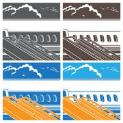 modern jet airliner symbol - stock illustration