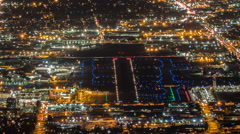 Night Airport Traffic Time Lapse in Burbank California with Zoom Out Stock Footage