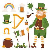 St. Patricks Day vector icons - stock illustration