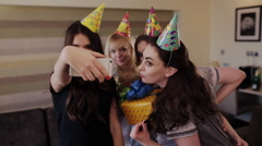selfie young beautiful girls with gifts and birthday girl - stock footage