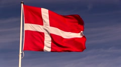 The Danish national flag, the Dannebrog - stock footage