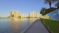 Waterfront path along Miami Beach Stock Footage