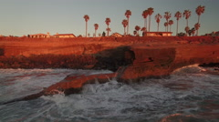 4k San Diego Ocean Cliff Sunset 007 Dolly Back Stock Footage