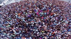 Quadrocopter shoot crowd of people on festival. Applouds. Summer evening Stock Footage