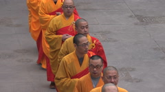 Chinese monks take part in religious ceremony in Jing'An temple Shanghai - stock footage