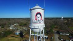 Harlem Georgia aerial Oliver Hardy water tower desecending Stock Footage