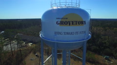 Grovetown Georgia Aerial Water Tower Ascent - stock footage