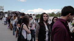 Queue and audience on summer festival. Studycam Stock Footage