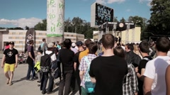 Audience at stage on summer live festival. Studycam. Sunny Stock Footage