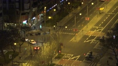 4K Aerial view traffic car large boulevard Barcelona Downtown people travel sign Stock Footage