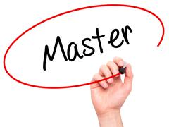 Man Hand writing Master with black marker on visual screen Stock Photos