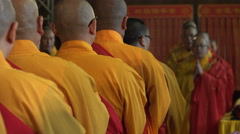 Religious ceremony inside a modern Chinese temple in Shanghai - stock footage