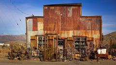 Tin Sided Building in Ghost Town of Randsburg, California - stock photo