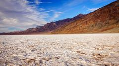 Salt Flats at Badwater Basin in Death Valley - stock photo