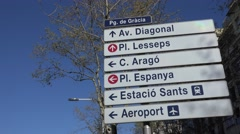 4K Road sign travel direction Barcelona tourism attraction traffic street iconic Stock Footage