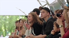 Audience cheering, apploud, shoot on camera. Summer festival. Slow motion Stock Footage